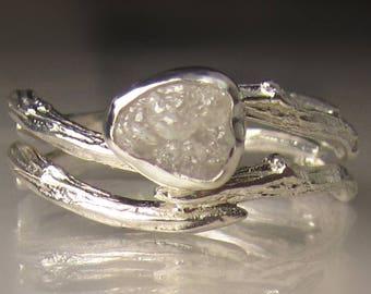 White Raw Diamond  Ring, Raw Diamond Engagement Ring, Rough Diamond Engagement Set