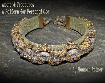 NEWLY RELEASED Bead Tutorial Ancient Treasures Beaded Bracelet peyote stitch pattern instructions by Hannah Rosner