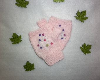 Tree child mittens knit 100% hand-made in France pink FIR all sizes possible