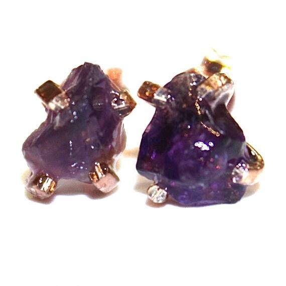 raw amethyst stud earrings organic earring purple amethyst
