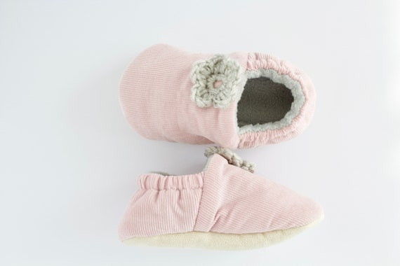 Pink soft corduroy pre walker & Toddler shoe with grey crochet flowers