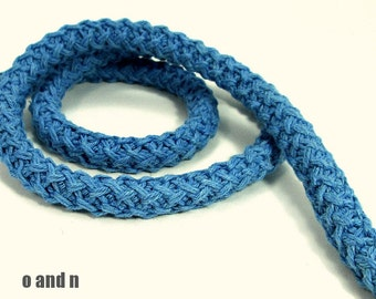 Braided cotton cord, braided cotton rope, cotton rope braided, knit cotton rope, thick cotton rope, blue cotton rope, 12mm cotton rope, 1m