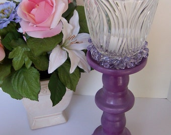 Repurposed Light Shade Candle Holder, Upcycled Purple Candle Stand, Recycled Home Decor