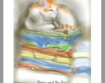 """Fairytale cat card: """"Percy and the Pea"""" - art card, cat & fairytale, sleeping cat, birthday card, Valentines / greetings. Cat drawing."""