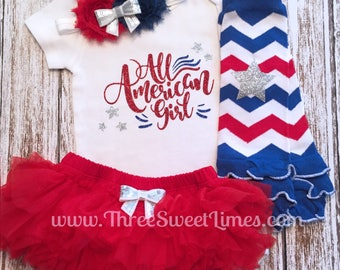 4th of July Baby Girl Outfit | All American Girl | Opt Headband & Ruffle Tutu Bloomer Set | First Fourth 1st | Independence Day