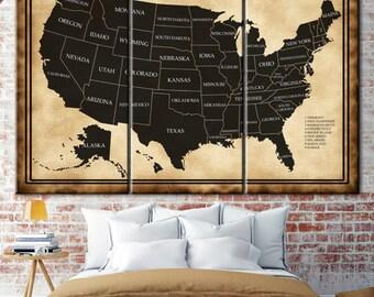 USA states map, United states map, Map of usa, Custom map, Usa map print, Illustrated map, Large usa map, Usa map wall art, map US push pin