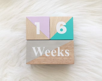 Baby Milestone Age Wooden Blocks - Solid Wood finished with Non-Toxic Organic Wax- Baby Shower Gift - Photo Prop - Hand Painted Triangle