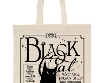 Black Cat Pagan shop cotton tote bag