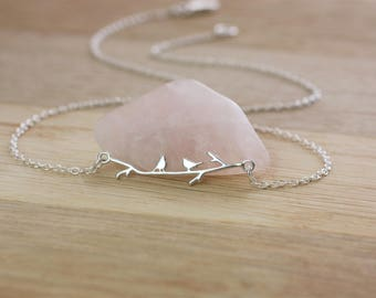 Two Little Birds Necklace, Sterling silver