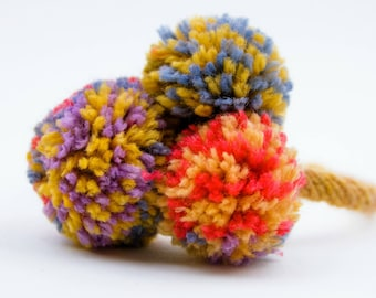 Pom-Pom Knitted Girl's Headband French Knit Headband, Adult or Young Girl Hair, Multicolored pom-poms Headband
