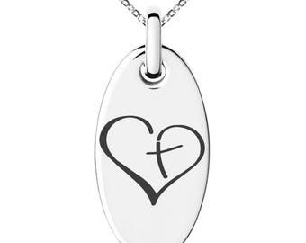 Stainless Steel Cross My Heart Engraved Small Oval Charm Pendant Necklace / Silver / Black / Rose / Gold