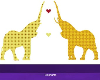 Cross Stitch Kit - Elephant , Orange, Yellow and Red Checkered - DMC Materials - Choose Your Own Colours