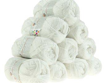 10 x 50g knitted yarn wool cotton Symbiosis #02 White