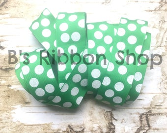 "1.5"" White Glitter Dots on Emerald Green USDR grosgrain ribbon polka dots girly green"