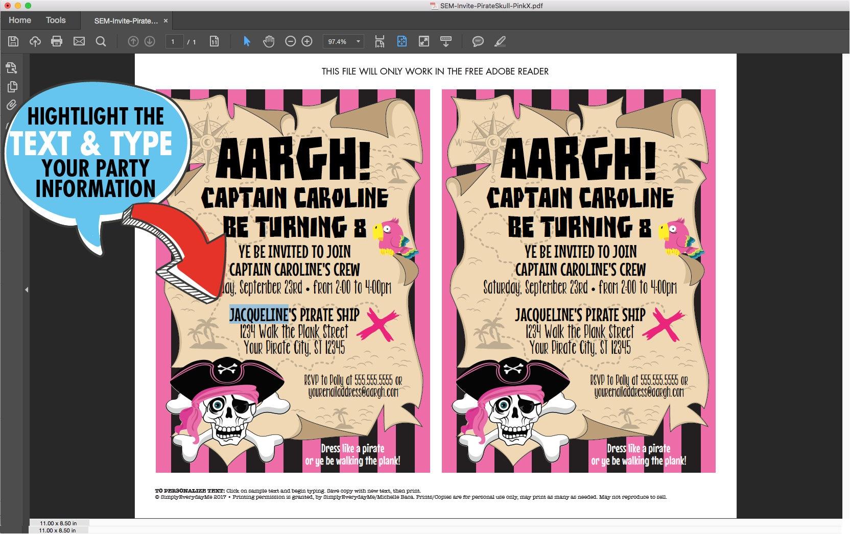 Pirate Girl Invitation - Girl Pirate Birthday Party, Pink Pirate ...