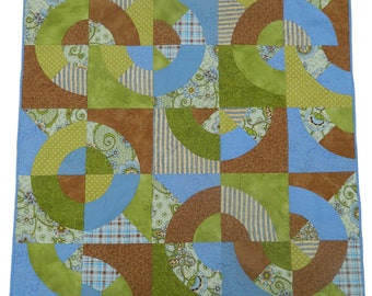 Modern Art Quilt   Earth Circles   Handmade Quilted Wallhanging GloryQuilts