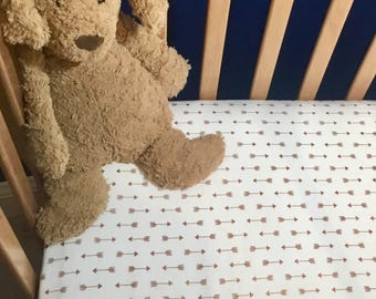 Rose Gold Arrow Fitted Crib Sheet