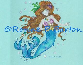 Original Mermaid Art Painting ~ Mermaid Princess ~ Fairy ~ Fantasy ~ Faerie ~ Faery ~ Original Ronne Barton Art Colored Pencil Illustration
