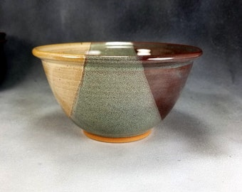 Pottery Bowl Serving Bowl with Rim in Green Yellow and Brown, Rice Bowl, Soup Bowl, Pho Bowl, 24 oz Bowl 3 Cup Bowl Stoneware Pottery Bowl
