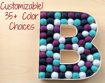 Felt Ball Letter - Your Color Scheme in a Random Pattern - Bright Felt Ball Letters - Nursery Letter Decor - Wood Filled Decor Letter Plaque