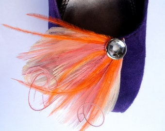 DREAM in Ivory, Orange, Coral, and Rose Pink Peacock Feather Shoe Clips, Feather Fascinator