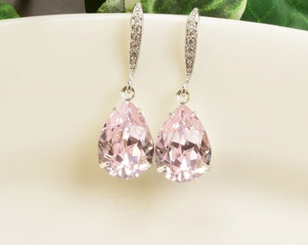 Light Pink Earrings - Swarovski Earrings - Pink Earrings - Bridesmaid Earrings Silver - Bridesmaid Jewelry - Crystal Drop Earrings