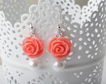 Coral rose earrings, Coral Bridesmaid earrings, coral wedding jewelry, bridesmaid gift, Coral flower jewelry, shabby chic, garden wedding