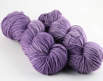 "Hand dyed yarn,  100% Super wash merino wool, DK weight, 4 ply, 231 yards,  ""Purple Sage"""