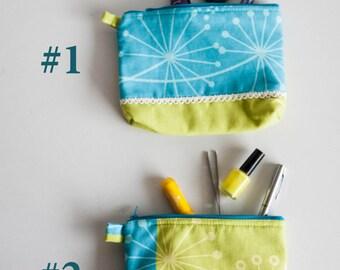 Makeup Organizer Bag, Dandelion Cosmetic Pouch, Chartreuse and Cyan Zipper Bag, Green Blue Lace Makeup Organizer Bag, Hostess Gift