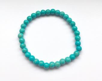 Turquoise beaded bracelet. Turquoise bracelet. Turquoise gemstone beaded stretch bracelet. Turquoise gemstone bracelet. Surfer bracelet