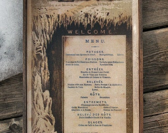 Vintage wooden sign ' Arctic Dinner 1876 ' reproduction concept.