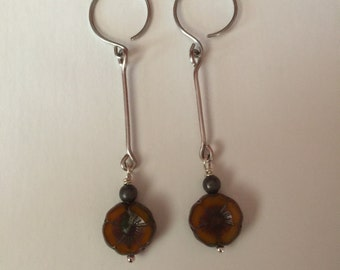 Titanium Dangle Earrings with Rustic Picasso Flower Bead