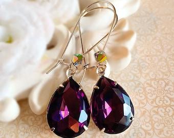 Victorian Earrings - Purple - Silver Earrings - Jewelry Gift - Crystal - SOMERSET Purple