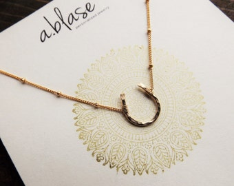 Small Gold Hammered Horseshoe Necklace // Satellite Chain