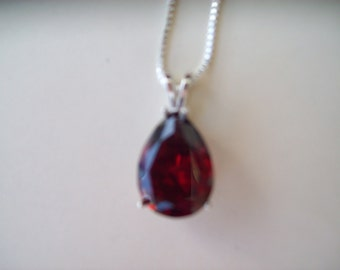 Garnet Red Pear Pendant in Sterling Silver
