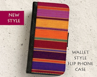 iPhone Case (all models) - wallet style flip case - South American textile design -  Samsung Galaxy S4,S5,S6,S7Edge,Note5,S8 & more