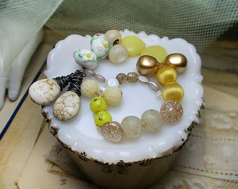 Earring Components - 7 Inch Strand - White & Pastel - Mixed Materials, Sizes, Shapes - Wire Wrapped Stone, Beads, Buttons  - Earring Supply