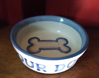 Our Dog Bowl Hand Painted 1980s Vintage Signed M.A.Hadley