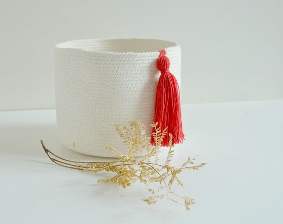 Cotton pot,  Cotton planter, Organisation basket, Wedding anniversary gift, White and red décor, Plant pot, Toy basket , Yarn basket