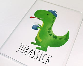 Get Well Soon Card - 5x7 Folded Card - Size When Opened Is 10x7 - Funny Saying Greeting Card For Friend Jurassick Punny Dinosaur Dino Pun