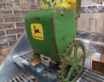 Vintage John Deere planter bucket seed spreader Rustic farmhouse Primitive Barn salvage sprocket wheel Garden Storage Industrial