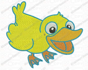 Yellow Duck Embroidery Design in 3x3 4x4 and 5x7 Sizes