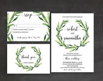 Olive Wedding Invitation Kit Greenery Wedding Invitation Printable Garden Wedding Invitations Foliage Wedding Invitation Set Green Wedding