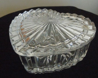 Crystal Heart Shaped Trinket Dish with Lid
