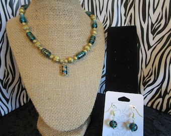 Gold & Turquoise Necklace/Earrings Set