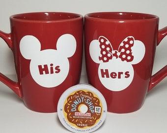 His and Hers Coffee Mug Set; Mickey and Minnie Coffee Mugs; Disney Couple Coffee Mug Set; Couples Coffee Set; Couples Gift