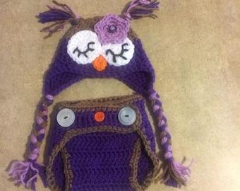Owl Ear-flap Hat & Diaper Cover