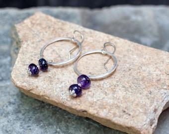 Royal Hoops - Rustic, Boho Silver and Amethyst Hoop Earrings - Purple Amethyst Rondelles - Dangle Earrings - Gemstone Earrings