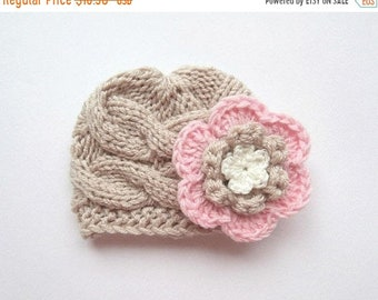 ON SALE 10% SALE Newborn Baby Girl Hat , Knit Toddler Girl Hat , Baby Hat Photo Prop , Winter  Baby Toddler Hat
