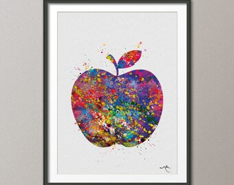 Apple Watercolor illustrations Art Print Fruit Art Wedding Gift, Love, Nursery, Kitchen, Wall Decor Art Home Decor Wall Hanging [NO 485]